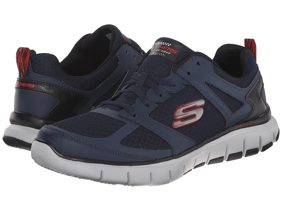 SKECHERS - Skech-Flex Power Alley (Navy/Red) Men's Shoes