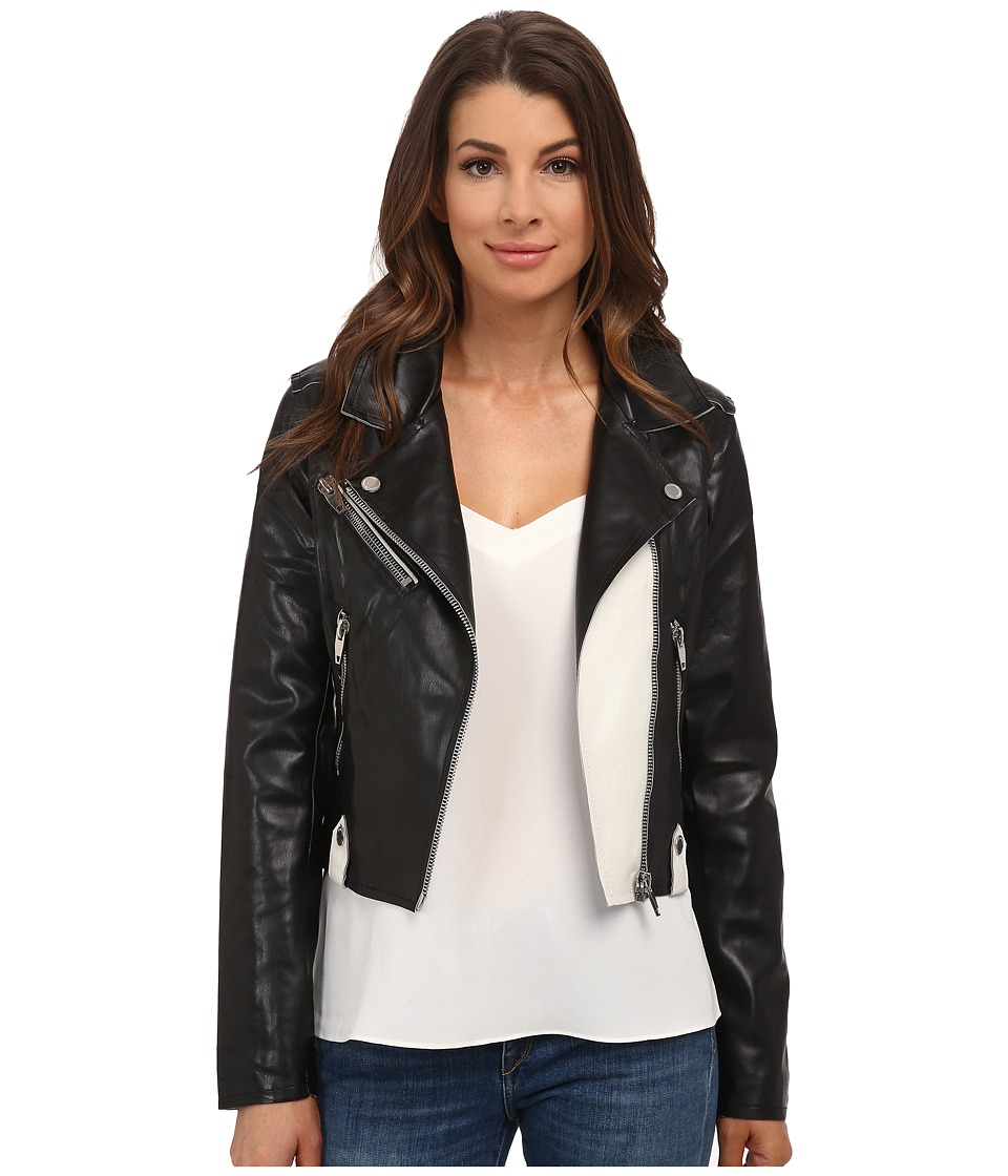 Blank NYC - Crop Moto Jacket (Black/White) Women's Coat