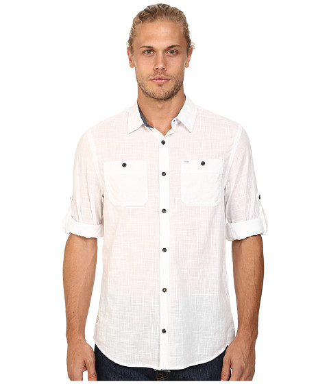 Buffalo David Bitton - Sierra Long Sleeve Shirt (White) Men's Long Sleeve Button Up
