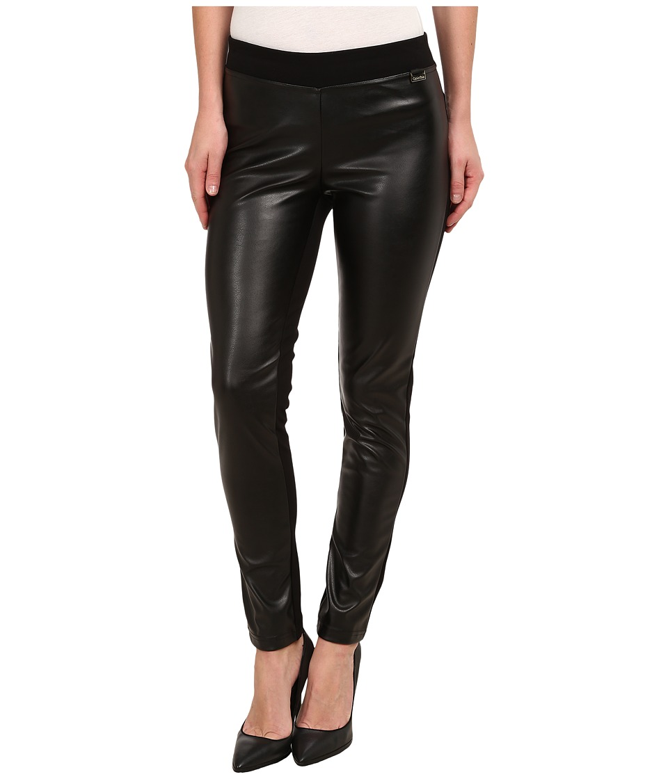 Calvin Klein - Pleather Front Leggings (Black) Women's Casual Pants
