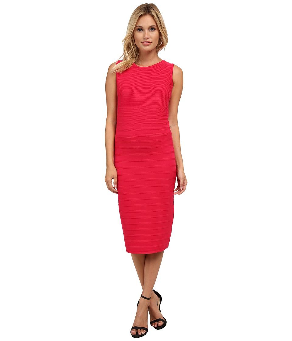 Calvin Klein - Sleeveless Rib Striped Dress (Winter Rose) Women's Dress