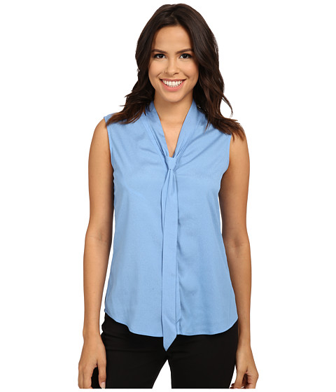 Calvin Klein - Sleeveless Blouse with Detachable Scarf (Silver Lake) Women's Sleeveless