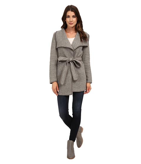 Calvin Klein - Slub Wrap Jacket w/ Belt (Tin) Women's Coat
