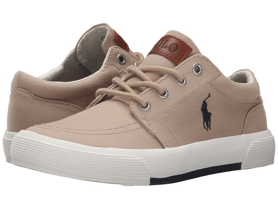 Polo Ralph Lauren Kids - Faxon II (Little Kid) (Khaki Heather Canvas/Navy) Kid's Shoes