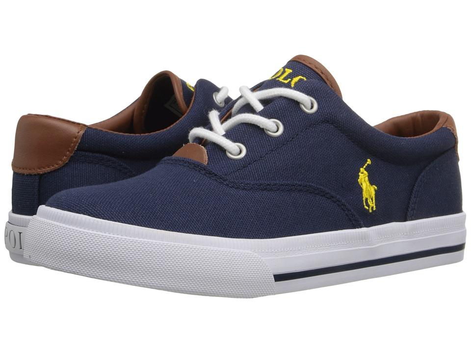 Polo Ralph Lauren Kids - Vaughn II (Little Kid) (Navy Canvas/Yellow) Kid's Shoes