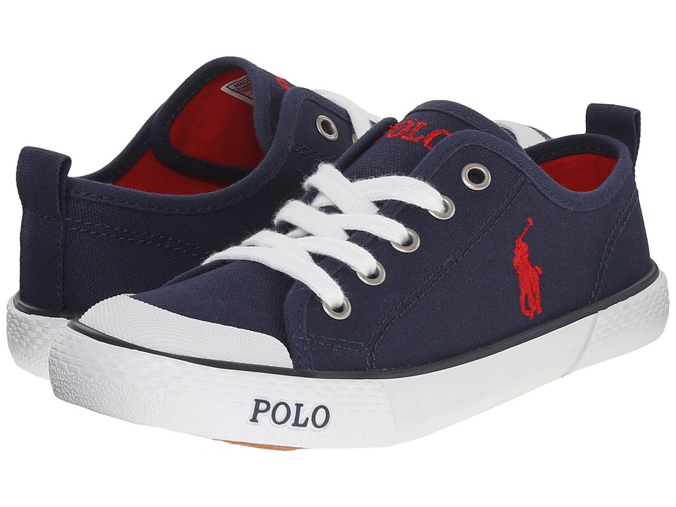 Polo Ralph Lauren Kids - Carlisle III (Little Kid) (Navy Canvas/Red) Kid's Shoes