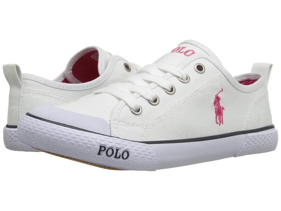 Polo Ralph Lauren Kids - Carlisle III (Little Kid) (Bright White Canvas/Pink) Girl's Shoes