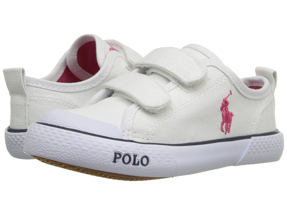 Polo Ralph Lauren Kids - Carlisle III EZ (Toddler) (Bright White Canvas/Pink) Girl's Shoes