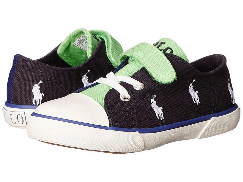 Polo Ralph Lauren Kids - Kody (Toddler) (Navy/Royal/Green Canvas/White) Kid's Shoes