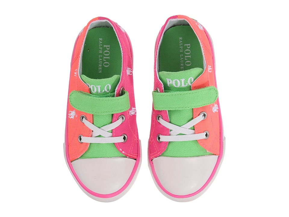 Polo Ralph Lauren Kids - Kody (Toddler) (Summer Melon/Pink/Green Color Block Canvas/White) Girl's Shoes