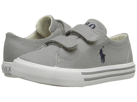 Polo Ralph Lauren Kids - Scholar EZ (Toddler) (Grey Canvas/Navy) Kid's Shoes