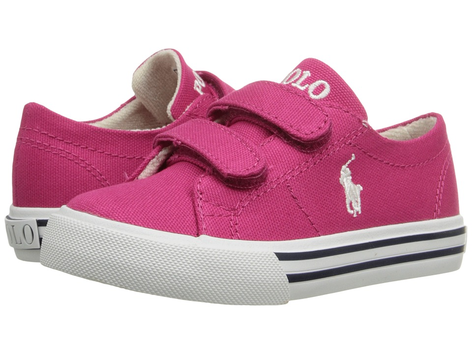 Polo Ralph Lauren Kids - Scholar EZ (Toddler) (Ultra Pink Canvas/Paper White) Girl's Shoes