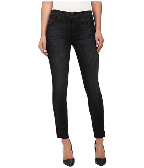 Hudson - Luna Midrise w/ Side Grommets Jeans in Varnished (Black) (Varnished (Black)) Women's Jeans