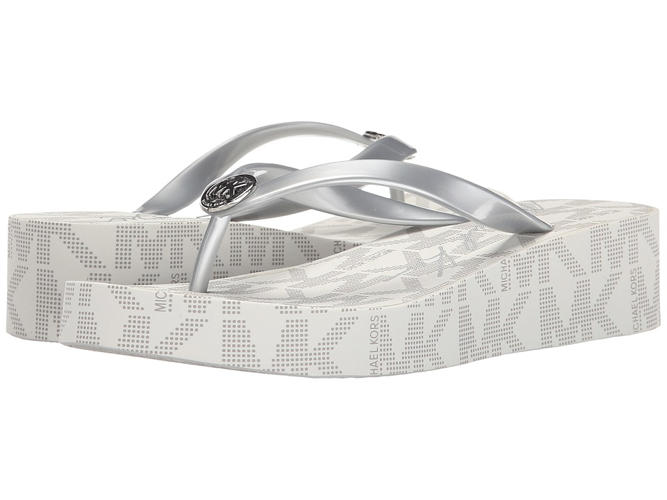 MICHAEL Michael Kors - Bedford Flip Flop (Silver) Women's Toe Open Shoes