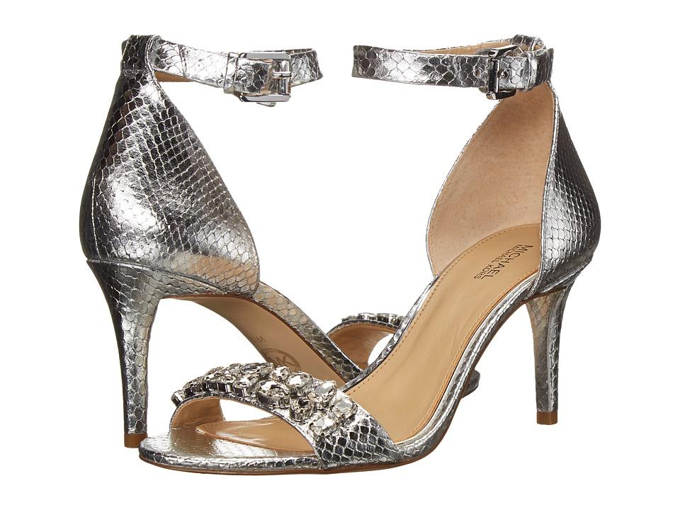 MICHAEL Michael Kors - Sylvie Mid Sandal (Silver) High Heels