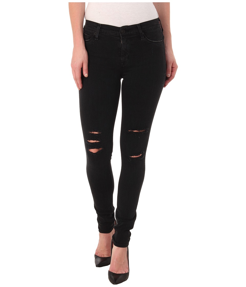 Hudson - Nico Mid Rise Super Skinny Jeans in Commune Washed Black (Commune Washed Black) Women's Jeans