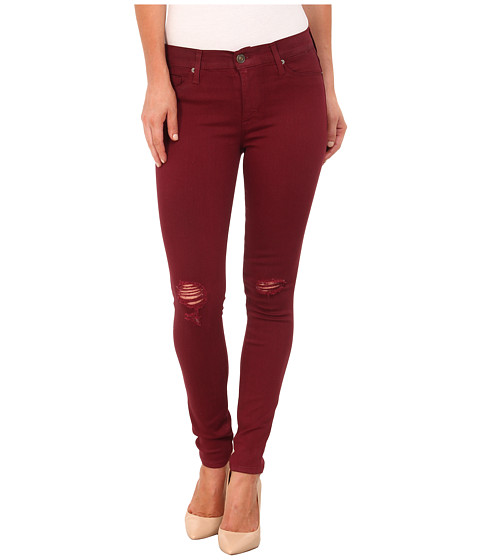 Hudson - Coated Nico Mid Rise Skinny Jeans in Crimson Wax Destructed (Crimson Was Destructed) Women's Jeans