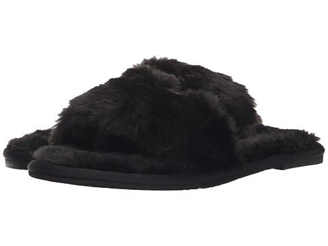 MICHAEL Michael Kors - Jet Set MK Slide (Black Faux Fur) Women