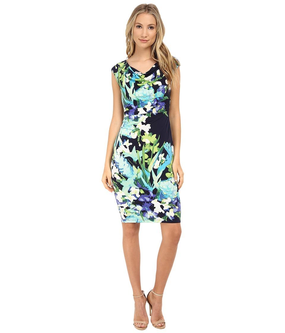 Vince Camuto - Ity Floral Print Sleeveless Drape Neck Dress (Print) Women's Dress