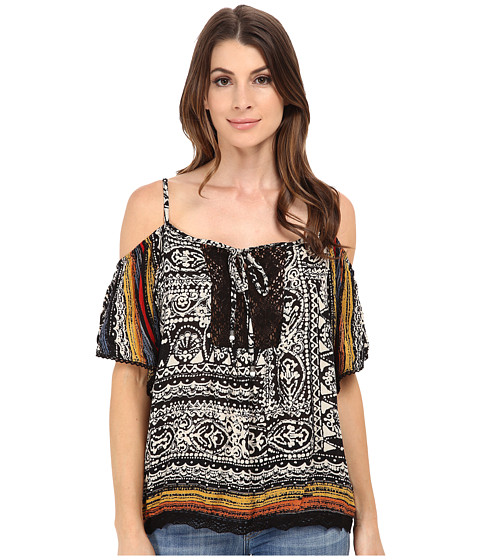 Angie - Cold Shoulder Print Top (Black/Cream) Women's Blouse
