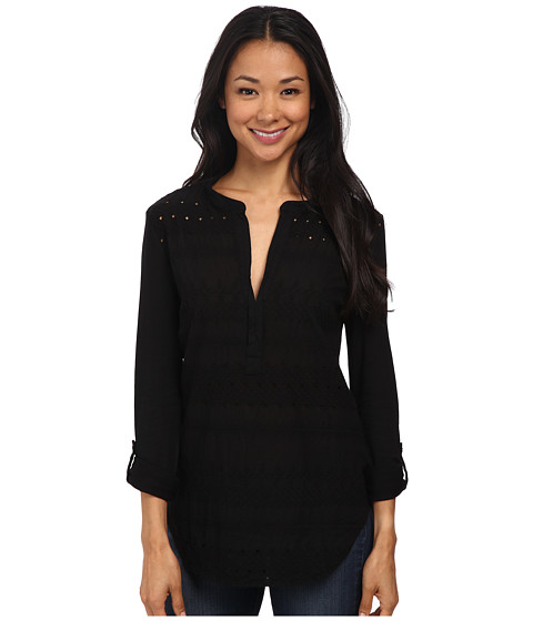 Dylan by True Grit - Artisan Stitched Poet Blouse w/ Roll Sleeve (Black) Women