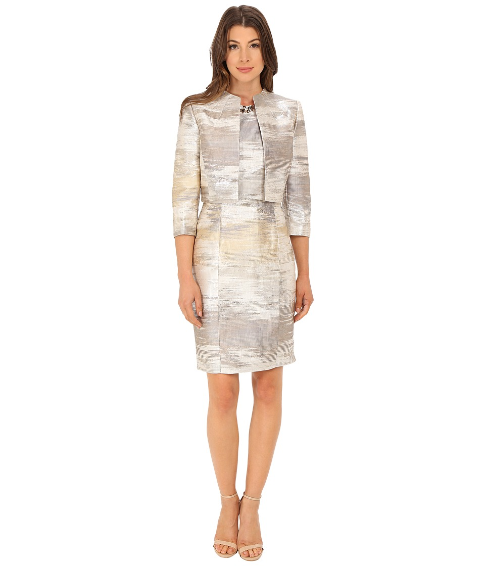 Tahari by ASL - Metallic Jacket Dress (Silver Pearl) Women's Dress