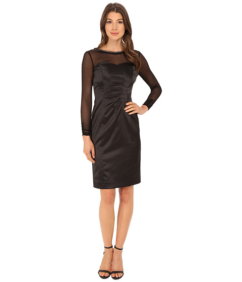 Tahari by ASL - Stretch Satin with Illusion Dress (Black) Women