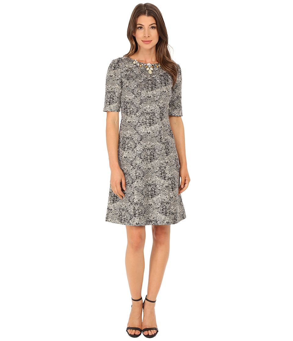 Tahari by ASL Metallic Boucle with Necklace Dress (Gold/Black/Ivory) Women