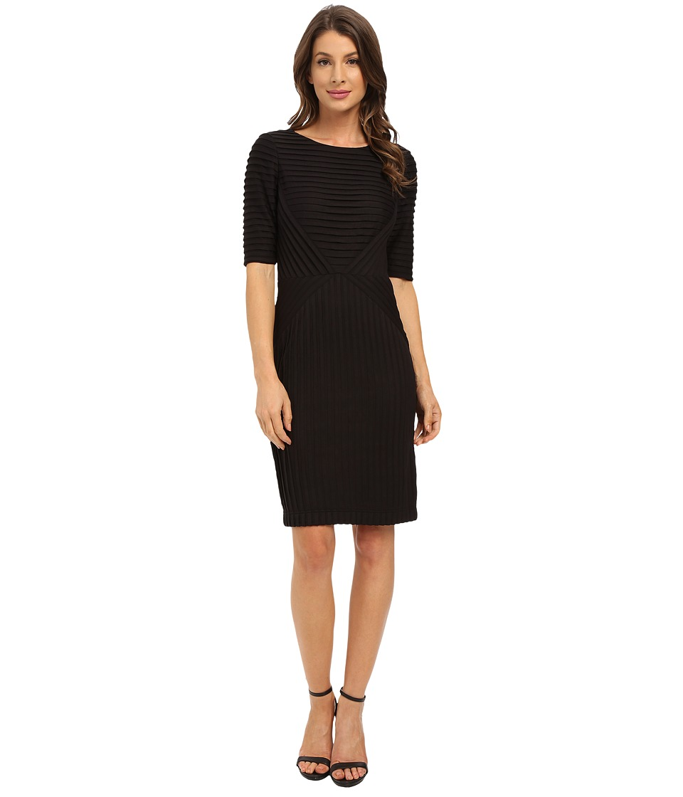 Tahari by ASL - Rib Knit Pleater Dress (Black) Women's Dress