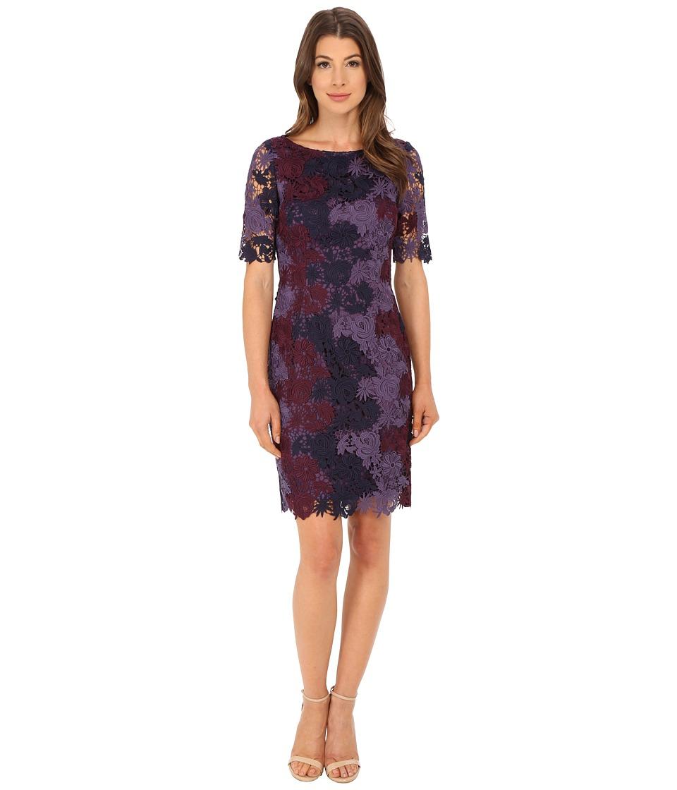 Tahari by ASL - Tri-Color Lace Dress (Berry/Lilac/Purple) Women's Dress