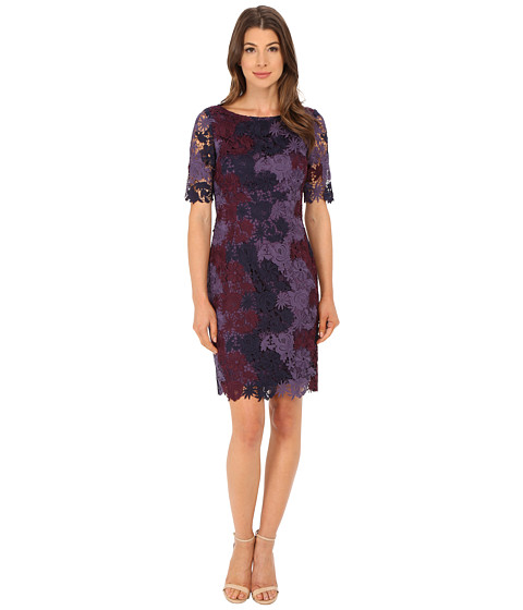 Tahari by ASL - Tri-Color Lace Dress (Berry/Lilac/Purple) Women's Dress