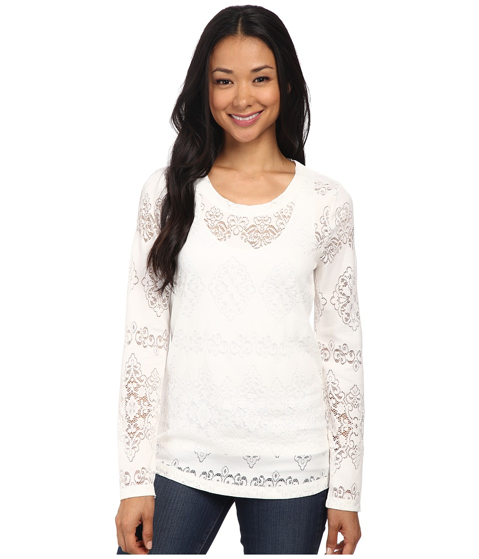 Dylan by True Grit - Lariat Lace Long Sleeve Tee (Faded White) Women's T Shirt