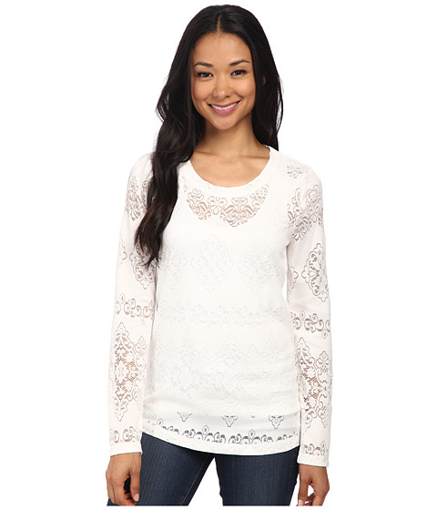 Dylan by True Grit - Lariat Lace Long Sleeve Tee (Faded White) Women