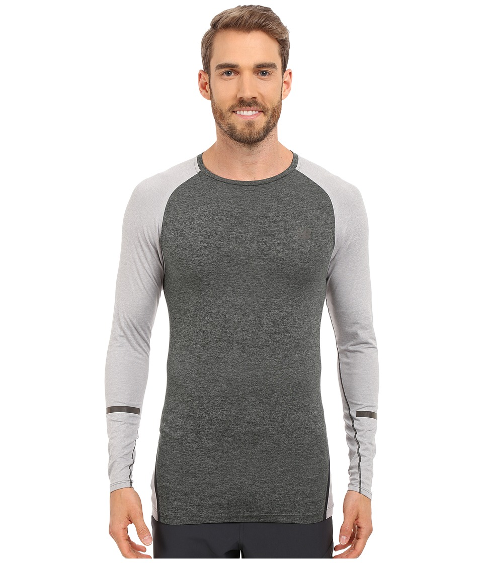 New Balance - Trinamic Long Sleeve Top (Heather Charcoal/Athletic Grey Heather) Men's Long Sleeve Pullover