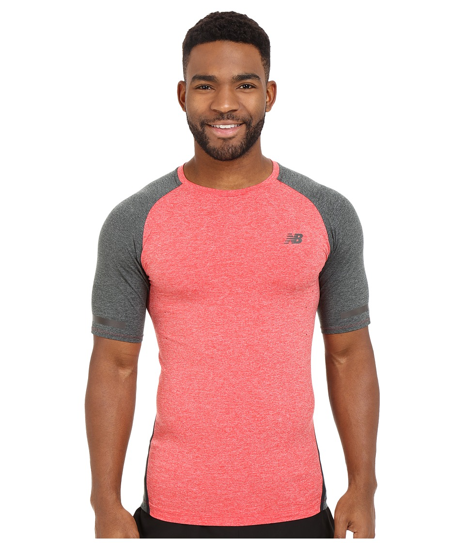 New Balance - Trinamic Short Sleeve Top (Chrome Red Heather/Heather Charcoal) Men's Short Sleeve Pullover