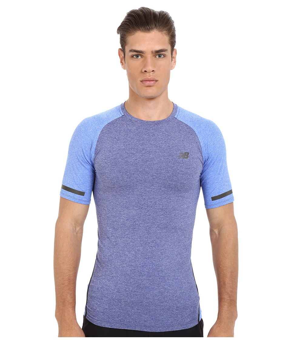 New Balance - Trinamic Short Sleeve Top (Pacific Heather/Pacific Heather) Men's Short Sleeve Pullover