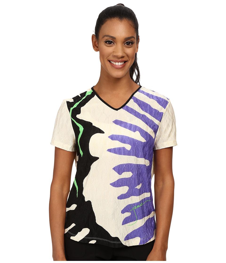 Jamie Sadock - Crunchy Textured Splat Print Short Sleeve Top (Vanilla) Women