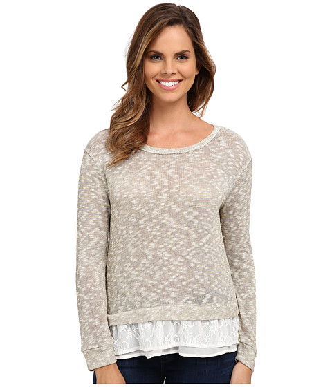 Dylan by True Grit - Slub and Lace Luxe Mesh Sweater (Golden Natural) Women's Sweater
