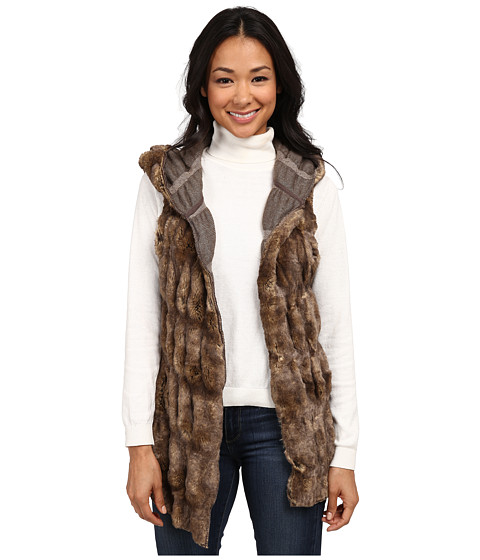 Dylan by True Grit - Fur and Textured Sweater Knit (Brown) Women