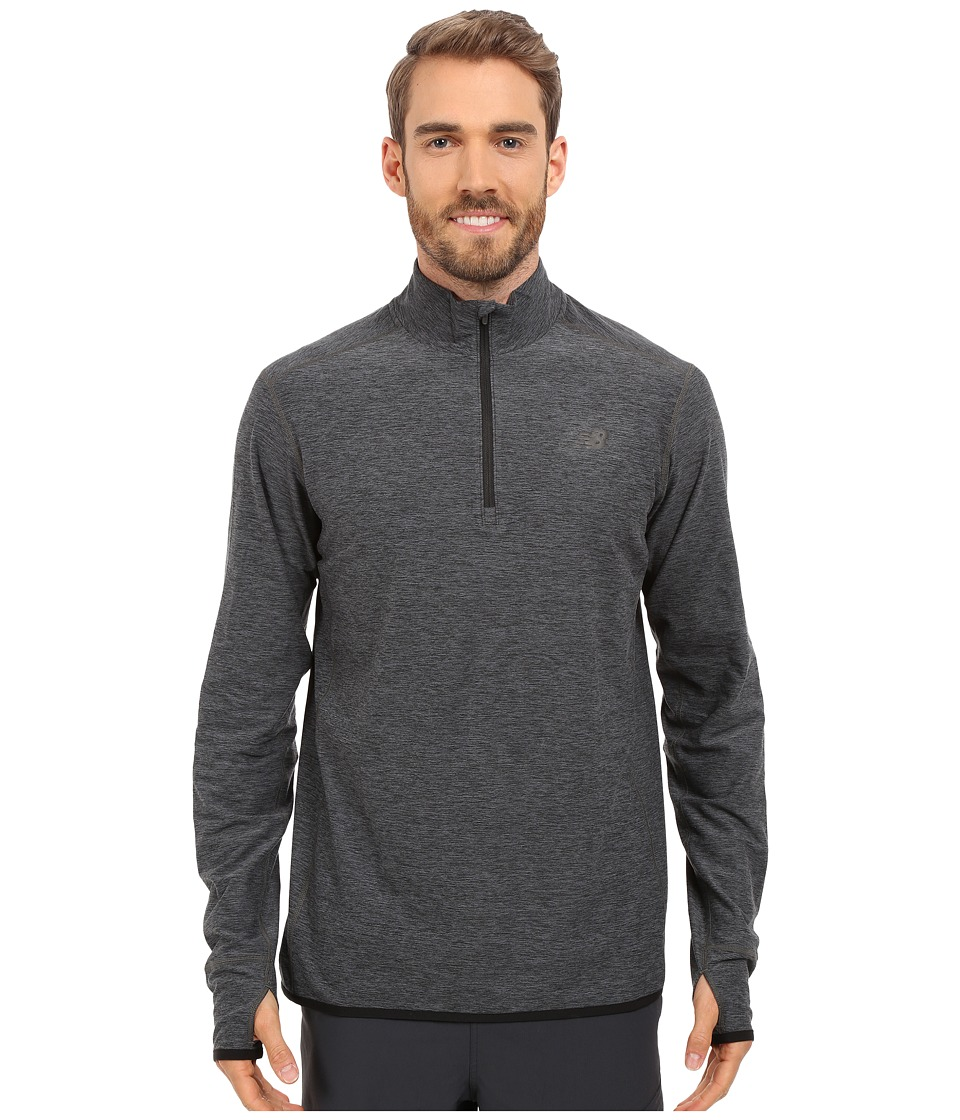 New Balance - Transit Quarter Zip Top (Heather Charcoal) Men's Long Sleeve Pullover