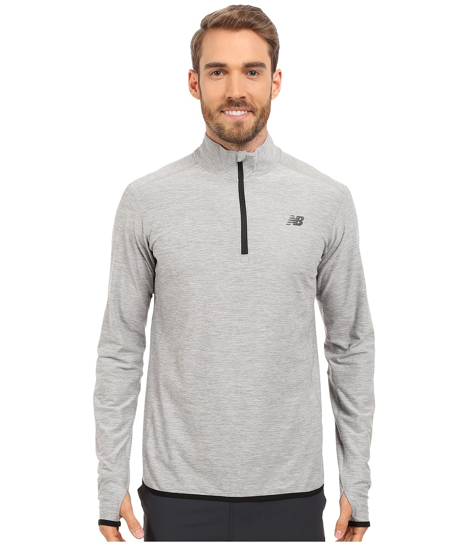 New Balance - Transit Quarter Zip Top (Heather Grey) Men's Long Sleeve Pullover