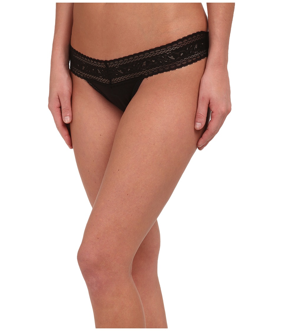 Calvin Klein Underwear - Cotton w/ Lace Thong (Black) Women's Underwear