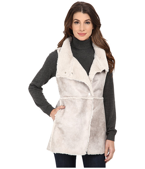 Dylan by True Grit - Vintage Natural Shearling Long Raw Edge Vest (Natural) Women