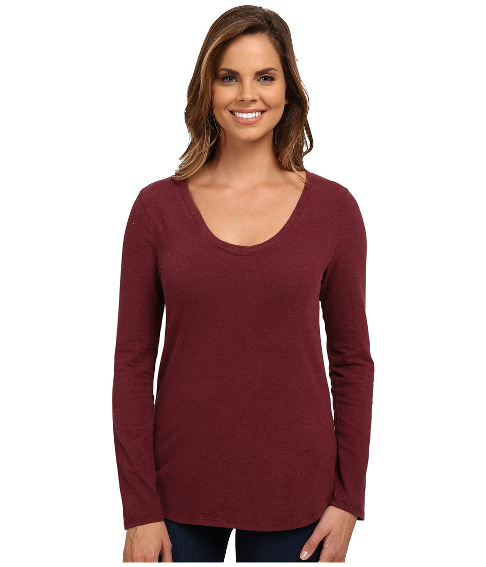 Dylan by True Grit - Luxe Suede Knit Long Sleeve V-Tee (Vintage Port) Women