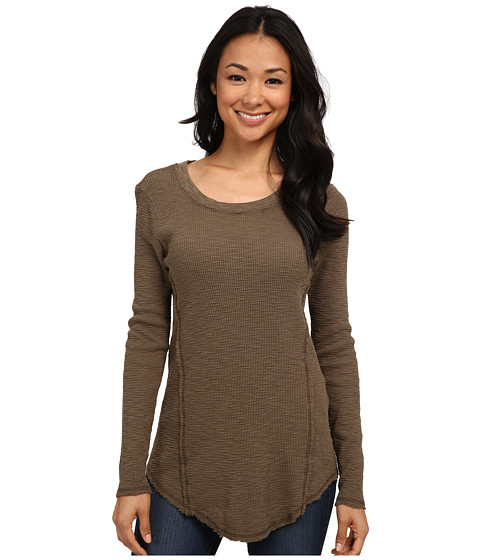 Dylan by True Grit - Long Sleeve Raw Edge Crew Neck Tee (Cargo) Women's T Shirt