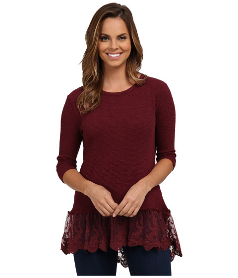 Dylan by True Grit - Softest Slub Waffle Thermal 3/4 Sleeve w/ Vintage Lace (Vintage Port) Women