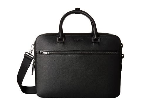 Michael Kors - Harrison Cross Grain Leather Medium Zip Briefcase (Black) Briefcase Bags
