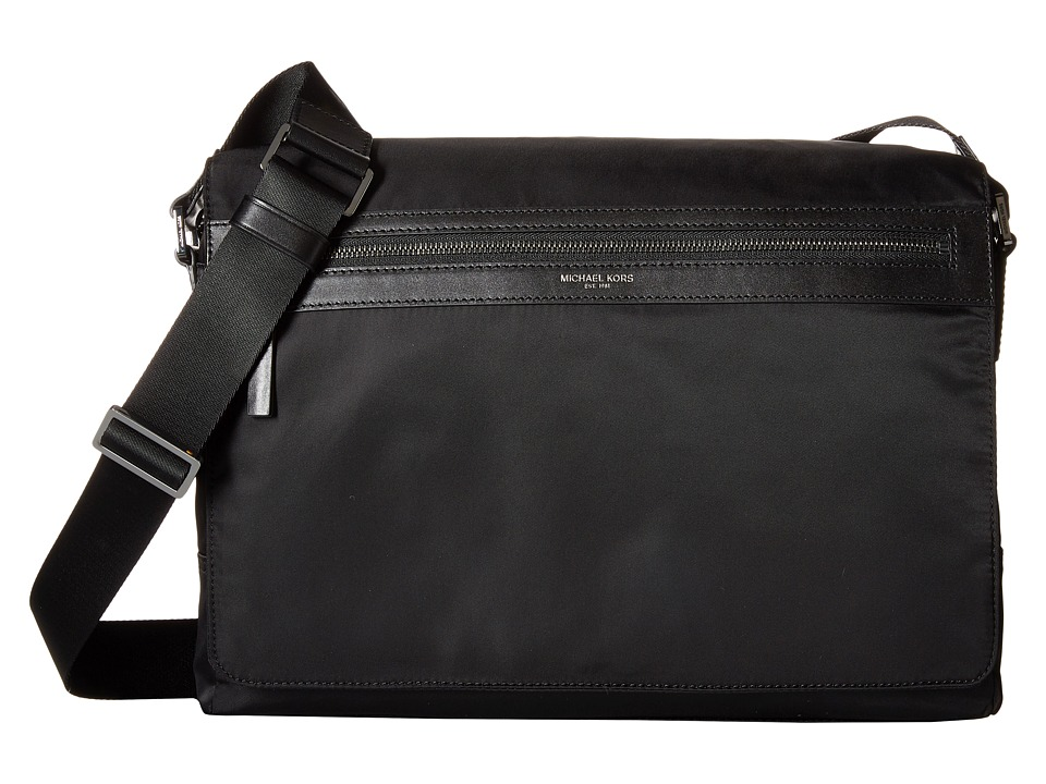 Michael Kors - Kent Lightweight Nylon Large Messenger (Black) Messenger Bags
