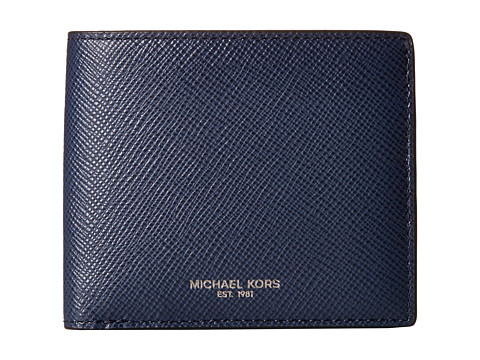 Michael Kors - Harrison Cross Grain Leather Billfold (Navy) Bill-fold Wallet