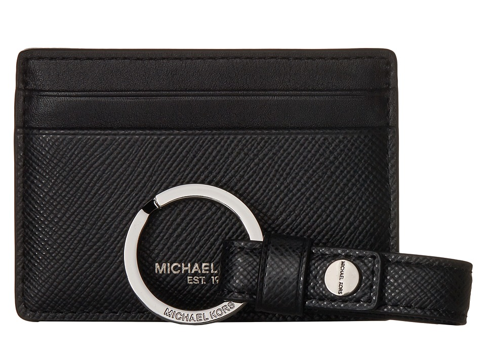 Michael Kors - Box Sets Cross Grain Leather Card Case w/ Key Fob Set (Black) Wallet